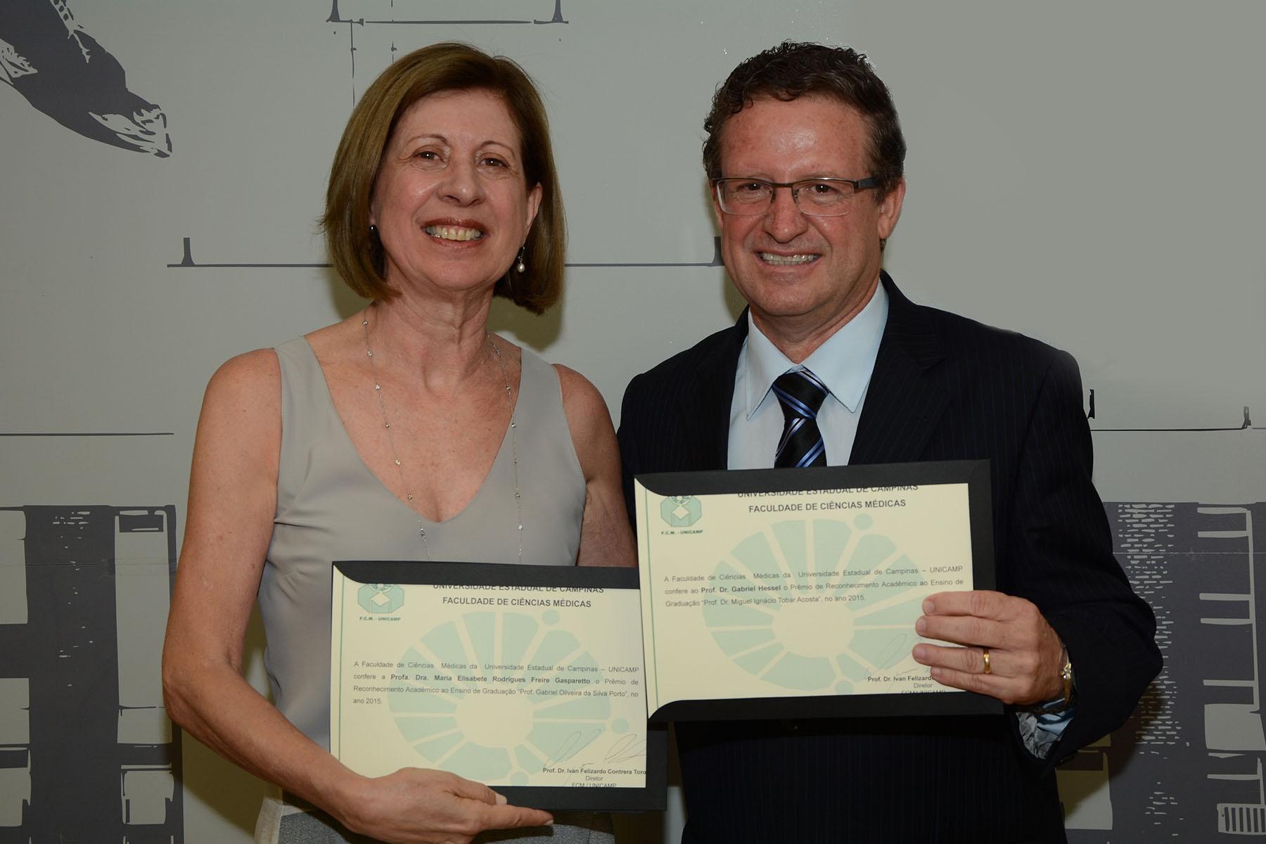 Elisabete Gasparetto e Gabriel Hessel. Foto: Mario Moreira. CADCC-FCM/Unicamp